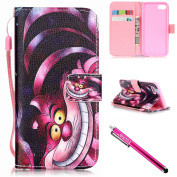 iPhone 7 Case, iPhone 7 Wallet Case, Firefish Stand Flip Folio Wallet Cover Shock Resistance Protective Shell with Cards Slots Magnetic Closure for Apple iPhone 7 12cm -Cat