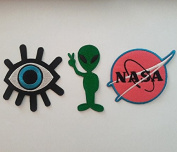 Iron on Patches Eye Eyeball Alien NASA 3 Pcs Set