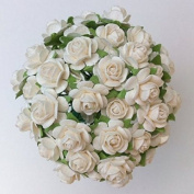 80 Pcs Mulberry Paper Flowers White Rose 15 mm Bouquets Decoration