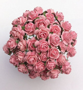 100 Pcs Mulberry Paper Flowers Pink Rose 20-25 mm Bouquets Decoration
