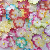 90 Pcs Mixed Colour Mulberry Paper Flower Blossom DIY Crafts 2.5cm