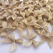 100 Pcs Mini Gold Ribbon Bows Crafts Party Decoration