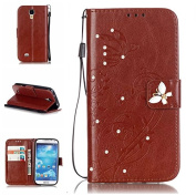 Galaxy S4 Case, ARSUE Premium Vintage Emboss Butterfly Flower PU Leather Wallet Case with Card Slots & Stand Flip Cover for Samsung Galaxy S4