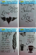 The Crafter's Workshop Zenspirations Inspired Bible Journaling Set of (4) - 15cm x 23cm Stencils - Includes 1 each Faith Hope Love, Believe, Take Delight and Cup of Joy - Bundle 4 Items