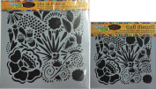 The Crafter's Workshop Set of 2 Stencils - Chica Doodle 30cm x 30cm Large and 15cm x 15cm Mini - Includes 1 each TCW654 and TCW654s - Bundle 2 Items