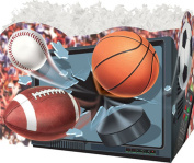 """TV/Sports Balls"" Small Gift Basket Boxes ""Boxco"" (3 per package) 17cm x 10cm x 13cm"