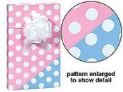 BHYMT New Trendy Reversible Pink or Blue Polka Dot Baby Girl or Boy Gift Wrap Wrapping Paper 4.9m Roll
