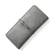LZG Women's Wallet Long Leather Purse Bifold Drawstring Clutch Hand Card Holder