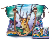 Hand painted Genuine Cow Leather Hand Made Shoulder Bag Hobo Satchel-Free Hand Painted leather Wallet
