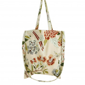 Flowertree Women's Butterfly On Flower Convertible Canvas Tote Bag Beige