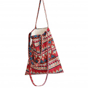 Flowertree Women's Tribal Pattern Convertible Canvas Tote Bag