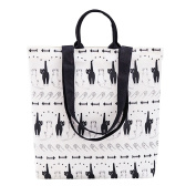 Flowertree Women's Cartoon Lazy Cat Convertible Canvas Tote Bag Large
