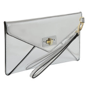 MG Collection Modern Mirror Silver Wristlet Clutch / Envelope Wallet Purse