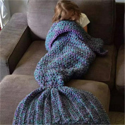 Handcraft Knitted Crochet Mermaid Tail Blanket for Adults and Kids