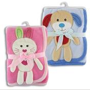 Animal Fleece Baby Blanket / blue (puppy), pink (bunny)
