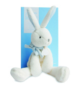 DOUDOU ET COMPAGNIE - White Medium Soft Bunny with Blue Accents - DC2911