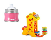Stainless Infant Bottle Stainless Steel with Natural Vent Nipple and Peek-a-Blocks Tumblin' Sounds Giraffe Toy