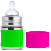 Pura Kiki Stainless Steel Infant Bottle with Green Silicone Sleeve, 150ml, Plus Extra Green Silicone Sleeve