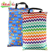 OHBABYKA 2PCS Large Wet Dry Hanging Pail Bag for Baby Cloth Nappy or Laundry