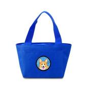Caroline's Treasures SS4762-BU Corgi Lunch or Doggie Bag, Large, Blue