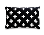 Olli & Lime Cross Pillow, Black/White