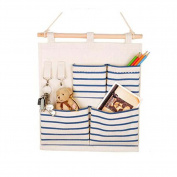 4-Pockets Zakka Wall Door Closet Hanging Storage Bag Case Home Organiser, Blue