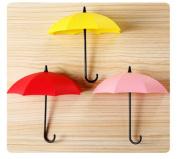 Interbusiness 3pcs Cute Colour Plastic Wall Decor Umbrella Stick Hooks Hanging Organiser