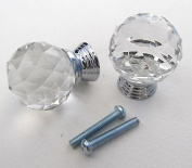 AMA(TM) 5PCS 30mm Diamond Crystal Glass Cupboard Wardrobe Cabinet Dresser Drawer Knobs Door Pull Handle