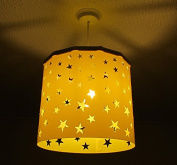 Yellow Stars Lampshade + EREKI Magnetic Set (More Colours Available) changing the light shade is easy, quick and safe using magnetic attraction, perfect for nursery, baby shower, newborn, kids