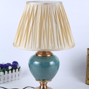 UZI-High-end antique copper alloy lamp temperature continental blue glazed ceramic home interior decoration can be switched