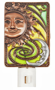 Green and Yellow Inlay Shade Night Light With Moon and Sun Faces - By Ganz