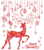 Gaosaili Jubilant Christmas Elk Stickers Decoration Shop Window Removable Wall Stickers