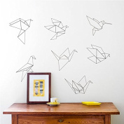 BLACK Origami papercranes wall sticker Art Vinyl Sticker home decor