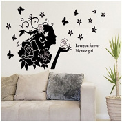Black Flower Fairy Removable Vinyl Decal Wall Sticker Mural Art Room Home Decor