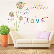Love Dandelion Flowers Wall Stickers Wallpaper Decor Art Decal Home Bedroom