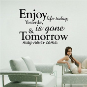 enjoy life today wall art quote sticker decal yesterday is gone tomorrow may