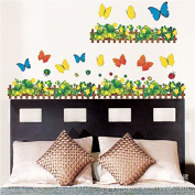 Clover Flower Fence Butterfly Home Decor Wall Stickers