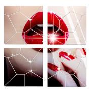 28PCS Acrylic Modern Mirror Decal Art Mural Wall Sticker Home Decor Removable-Silver