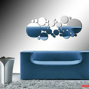 28PCS Dots Mirror Tile Decal Wall Sticker Acrylic DIY Self Adhesive Mosaics Home Decor-Silver