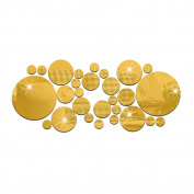 28PCS Dots Mirror Tile Decal Wall Sticker Acrylic DIY Self Adhesive Mosaics Home Decor-Gold