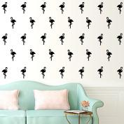 30 Pcs Flamingo Wall Art Stickers Removable Kids Nursery Vinyl Decal Decor Mural-Black
