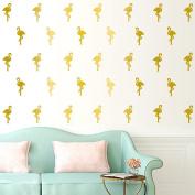 30 Pcs Flamingo Wall Art Stickers Removable Kids Nursery Vinyl Decal Decor Mural-Gold
