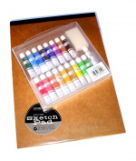 Xonex Snap Case Art Supplies - Gouache Paints, 18PC Plus Sketch Pad