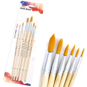 Mimgo Store 6Pcs Round Pointed Tip Nylon Hair Brush Set, Artist Paint Brushes Set for Watercolour Oil Acrylic Painting Blue