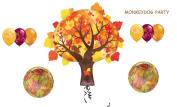 9pc AUTUMN TREE & LEAF leaves BALLOON set PARTY happy FALL