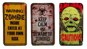 Caution Zombie Outbreak - Keep Calm Beware Of Zombies - Warning Zombies Enter At Your Own Risk - 3 Halloween Hanging Signs - 41cm x 23cm - Double Sided - Sturdy Cardboard