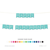 Andaz Press Hanging Birthday Party Pennant Banner with String, Happy 100th Birthday!, 1.5m, 1-Set, Custom Choose Your Colour