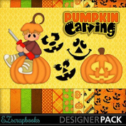 Pumpkin Carving Boy - Digital Scrapbook Kit on CD