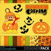 Pumpkin Carving Girl - Digital Scrapbook Kit on CD