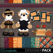 Thankful Bear - Digital Scrapbook Kit on CD